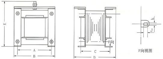 BK系列控制变压器的外型安装示意图