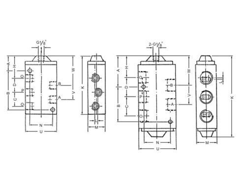 40300系列二位五通气控换向阀