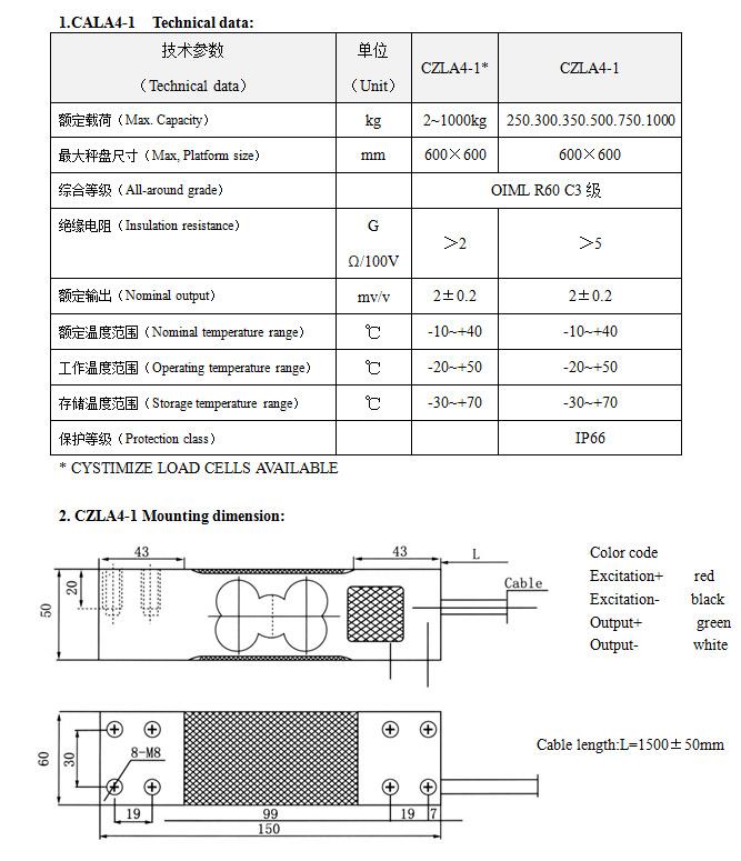 称重传感器 CZLA4-1