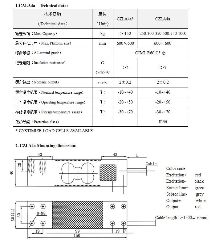称重传感器 CZLA4a