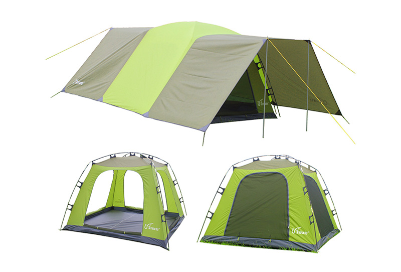 Outdoor multi-person camping tent, sky tent, rainstorm-proof double-deck field sunshade and multi-pu