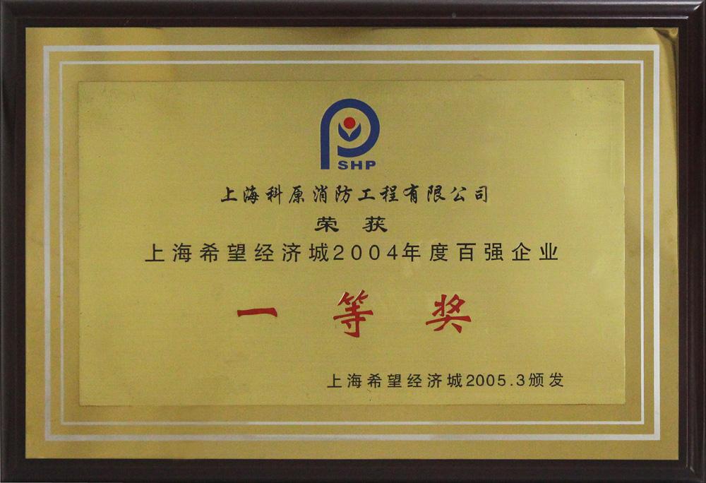 2004希望经济城年度百强企业一等奖