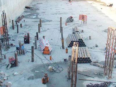 海南文昌污水处理厂污水池不均匀沉降补桩加固