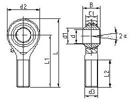 镶垫式外螺纹英制杆端关节轴承
