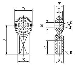 整体型内螺纹英制杆端关节轴承