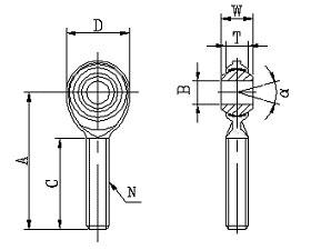 整体型外螺纹英制杆端关节轴承