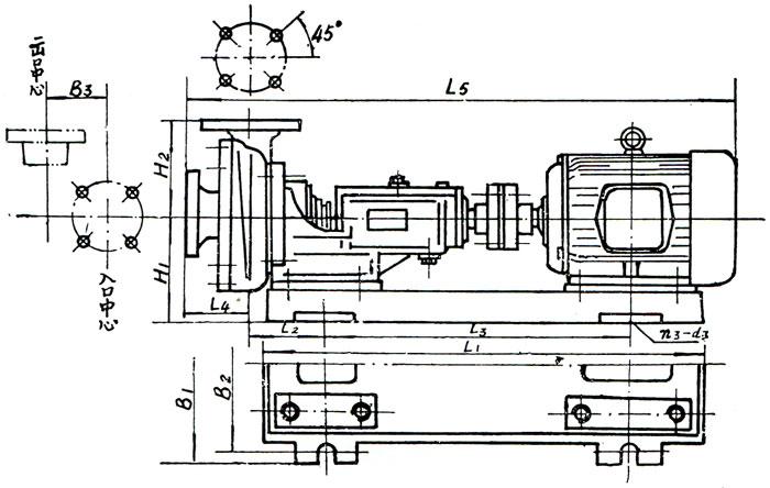 FSP型耐酸泵安装尺寸图