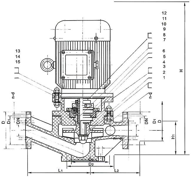 IGS型玻璃钢管道泵结构及安装图