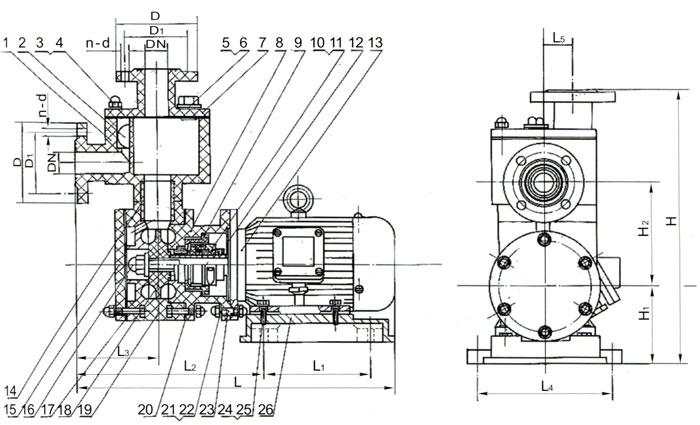 ZWS型直联式玻璃钢自吸泵结构及安装图