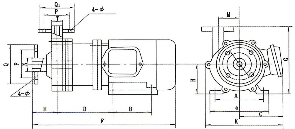 CQ型磁力驱动泵安装示意图