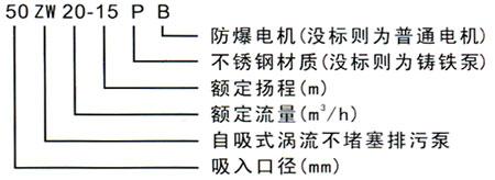 ZW系列自吸式不堵塞排污泵型号含义