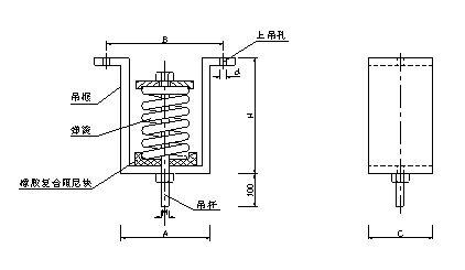 VWHS型吊式阻尼弹簧减振器结构图