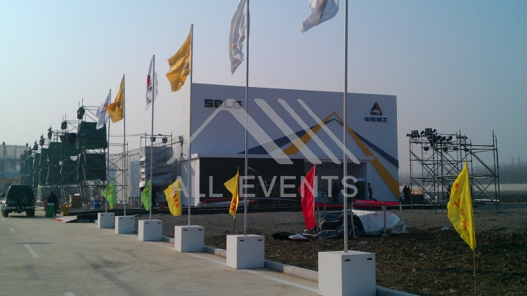 VOLVO中国重型机械新车上市,欧绅帐篷提供上海帐篷出租