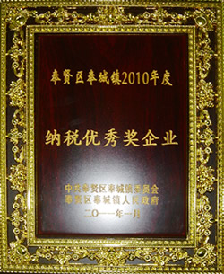 2010年度纳税优秀奖企业